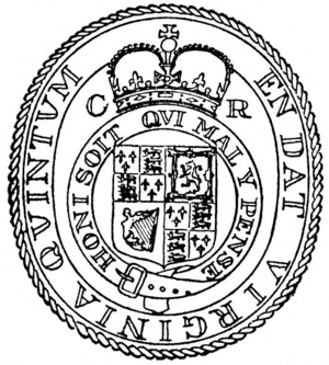 Virginia Cavaliers (historical) - Seal of Virginia following the Restoration of King Charles II in 1660