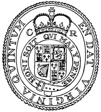 Virginia Cavaliers (historical) - Seal of Virginia following the Restoration of King Charles II in 1660