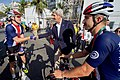Secretary Kerry Shakes Hands With Men's Road Cycling Competitor Brent Bookwalter Before the Start of a Race (28772467806).jpg