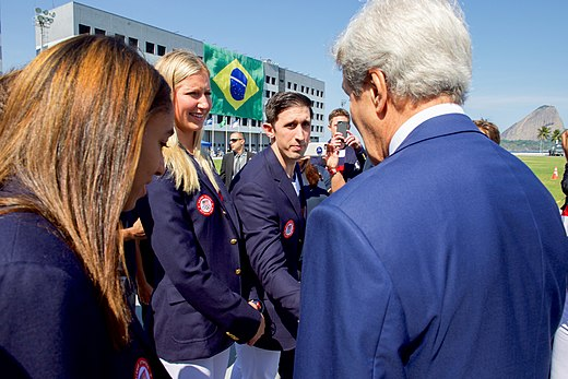 Secretary Kerry greets volleyball players as he and his fellow Presidential Delegation members visit the Brazilian Naval Academy in Rio de Janeiro (28169862674).jpg