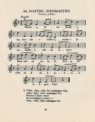 Symphony No. 6 (Dvořák) - Sedlák, sedlák in a songbook of Czech folksongs translated into Esperanto.