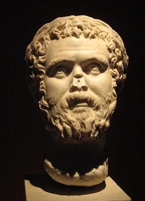 Marble bust of Roman emperor Septimius Severus...
