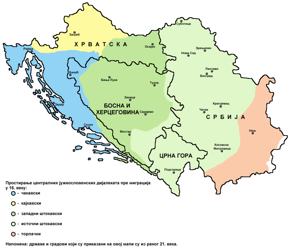 Serbo croatian dialects historical distribution 2-sr