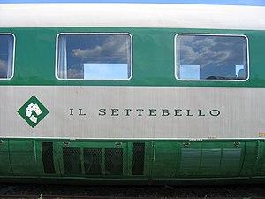 "Settebello (train) - Name and ""Settebello"" card game logo on side of train"
