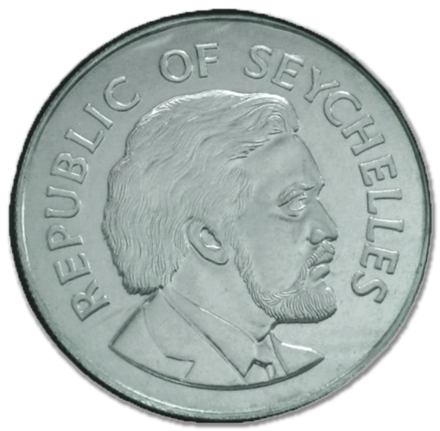 Sir James Mancham on obverse of the Seychellois rupee silver coin, 1977 Seychelles 25 rupees 1977.png