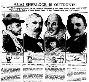 Baconian theory of Shakespeare authorship - A feature in the Chicago Tribune on the 1916 trial of Shakespeare's authorship. From left: George Fabyan; Judge Tuthill; Shakespeare and Bacon; William Selig.