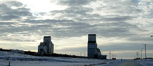 Shaunavon, Saskatchewan - Grain elevators by the railway track