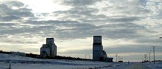 Shaunavon, Saskatchewan - Grain elevators by the railway track