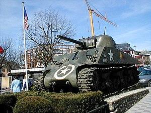 War memorial - An M4 Sherman tank in the centre of Bastogne, Belgium