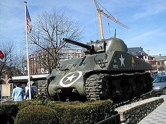 War memorial - An M4 Sherman tank in the centre of Bastogne, Belgium