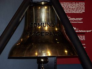 Great Lakes Shipwreck Museum - The bell from the SS Edmund Fitzgerald on display at the Great Lakes Shipwreck Museum