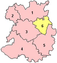 The ceremonial county prior to the 2009 local government restructuring, with just Telford & Wrekin as a unitary authority (shown yellow) Shropshire Ceremonial Numbered.png