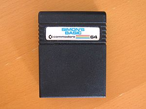 Simons' BASIC - One of the early Simons' BASIC cartridges, with the misspelled label contributing to the software's naming confusion.