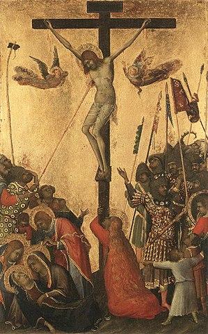 «Распятие», картина Симоне Мартини, 1333г. Магдалина в красном платье с распущенными волосами обнимает основание креста