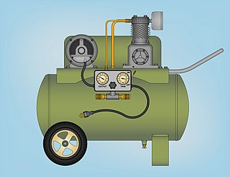 Compressed air - Technical Illustration of portable single-stage air compressor