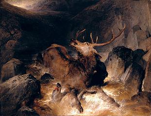 Deer and Deer Hounds in a Mountain Torrent