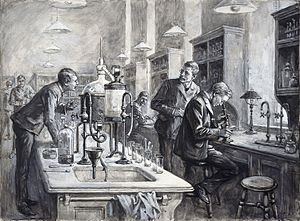 Liverpool School of Tropical Medicine - Sir Ronald Ross, C.S. Sherrington, and R.W. Boyce working together in a laboratory at the LTSM in 1899