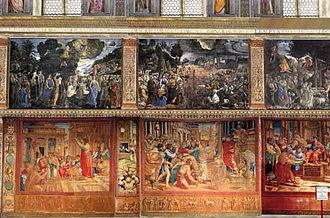 A rare display of the tapestries in the Sistine Chapel, 2011 Sistina con arazzi.jpg