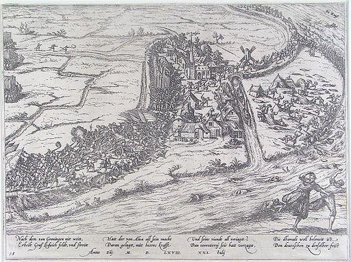 Slag bij Jemmingen - Schlacht von Jemgum - 21 Juli 1568 (Frans Hogenberg)