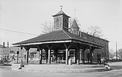 Black-and-white photo of large gazebo