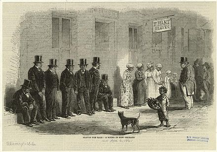 Slaves for sale, a scene in New Orleans, 1861 SlavesForSaleNewOrleans1861.jpeg