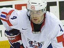 Slovenia VS USA at the IIHF World Hockey Championship 2008 - Andrej Tavželj.jpg