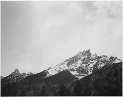 "Snow covered peak, ""In (Grand) Teton National Park,"" Wyoming., 1933 - 1942 - NARA - 519913.tif"