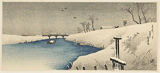 Snow on Ayase river
