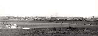 Islington Railway Workshops - Islington workshops, where large numbers of locomotives and rolling stock were designed and built from 1883. Photo taken between 1915 and 1927, before the encroachment of Adelaide's suburbs.
