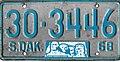 South Dakota 1968 license plate - Number 30-3446.jpg
