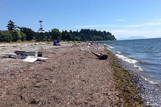 Crescent Beach, Surrey - South-facing view of Crescent Beach at high tide