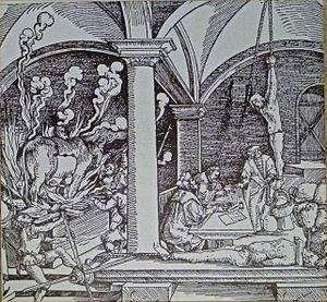 Torture chamber - Artist's depiction of the strappado, including the weight hanging from the victim's ankles. On the left the Brazen bull is illustrated