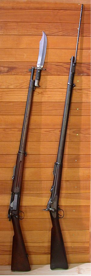 Springfield Model 1892–99 - A .30 Springfield Krag rifle and a .45 Springfield Model 1888 rifle.