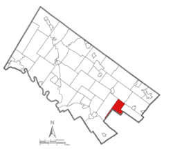 Location of Springfield Township in Montgomery County, PA