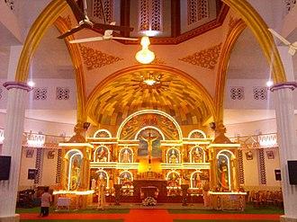 St. Mary's Forane Church, Edoor - The interior of 'St. Mary's Forane Church Edoor' with a far view of the altar.