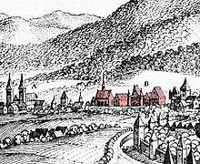 St. Paulin und zentral St. Maximin (Stich von Merian) mit Stadtmauer