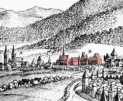 St. Maximin's Abbey (centre) with St. Paulinus' church (left) and city wall of Trier. Engraving by Merian, c. 1646