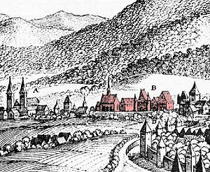 St. Maximin's Abbey, Trier - St. Maximin's Abbey (centre) with St. Paulinus' church (left) and city wall of Trier. Engraving by Merian, c. 1646