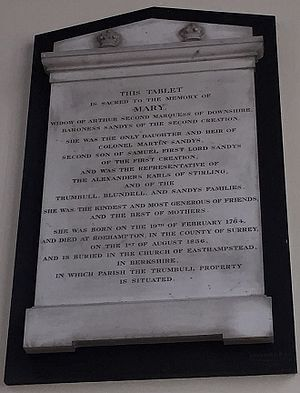 Baron Sandys - Ombersley Church, memorial to Mary Hill, Marchioness of Downshire, Baroness Sandys (1774–1836)