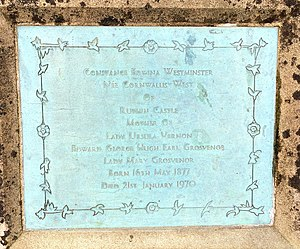 Constance Lewes - St Mary's Church, Eccleston, Old Churchyard – plaque commemorating Constance Edwina (née Cornwallis-West, 1877−1970)