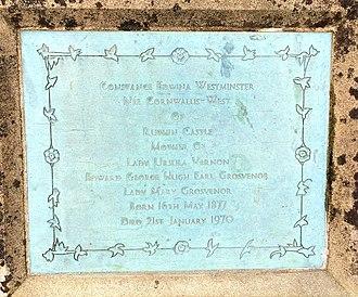 Constance Lewis - St Mary's Church, Eccleston, Old Churchyard – plaque commemorating Constance Edwina (née Cornwallis-West, 1877−1970)