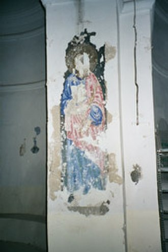 Develi - Virgin Mary painting inside the old Armenian Everek/Evereg church, St. Toros, now a mosque, during renovations in 2000