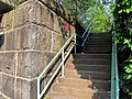 Stairs to Minuteman Trail at former Brattle station, July 2015.JPG