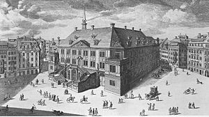 Johanneum (Dresden) - The Stallgebäude after its extension with an upper floor and a staircase in 1731