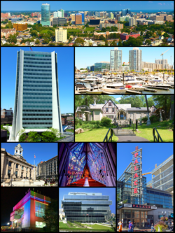 Clockwise, from top: Downtown Stamford, Harbor Point, Stamford Museum & Nature Center, Stamford Center for the Arts, Fish Church, One Stamford Forum, Stamford Transportation Center, Old Town Hall, and One Landmark Square