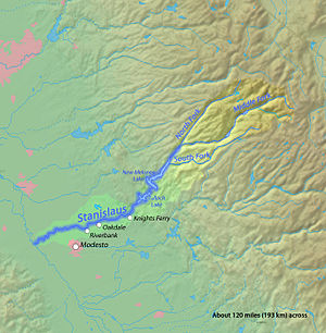 Donnells Dam - Map of the Stanislaus River