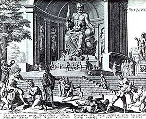 Statue of Zeus at Olympia - A fanciful reconstruction of Phidias' statue of Zeus, in an engraving made by Philippe Galle in 1572, from a drawing by Maarten van Heemskerck