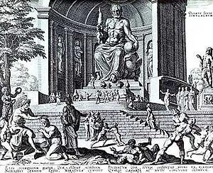 پیکره? زئوسفیدیاس آتنی، در حدود سال ??? پیش از میلاد، این مجسمه? ?? متری را ساخته و زینت معبد زئوس در المپیا کرد. این مجسمه که یکی از عجایب هفتگانه? دنیای قدیم شناخته میشد، بعدها دزدیده شد. تصویر فوق نقاشی قرن ?? از این مجسمهاست.