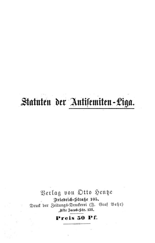 Statuten der Antisemiten-Liga
