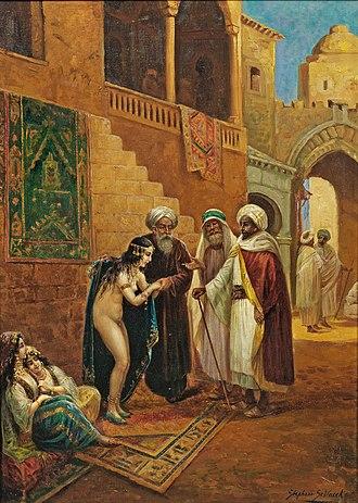 Slave market - Slave market, painting by Stephan Sedlacek